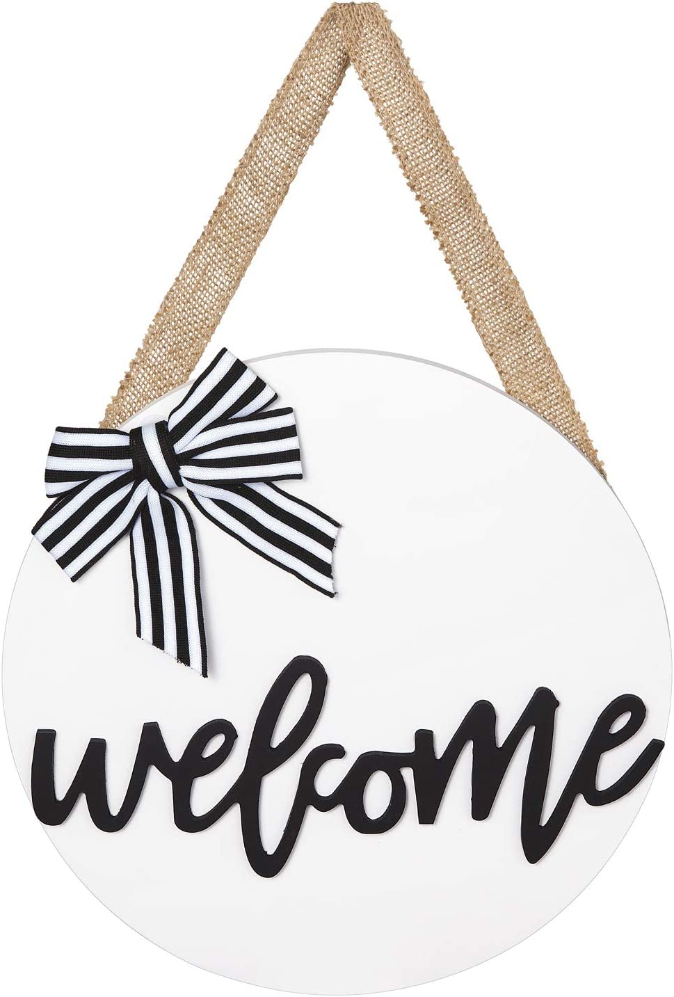 Dahey Welcome Sign Rustic Front Door Decor Round Wood Hanging Sign Farmhouse Porch Decorations for Home Thanksgiving Christmas,White