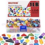 Hilitchi 1lb Assorted Stained Glass Mosaic Tile Mixed Shapes and Colors Glass Pieces for DIY Crafts, Plates, Picture…