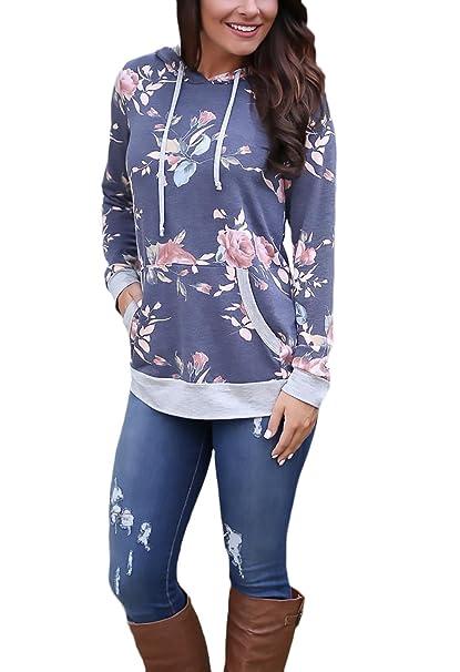 Mujer Sudaderas Con Capucha Camisas Flor Impresa Ante Bolsillo Elegante Moda De Marca New Look Camisetas