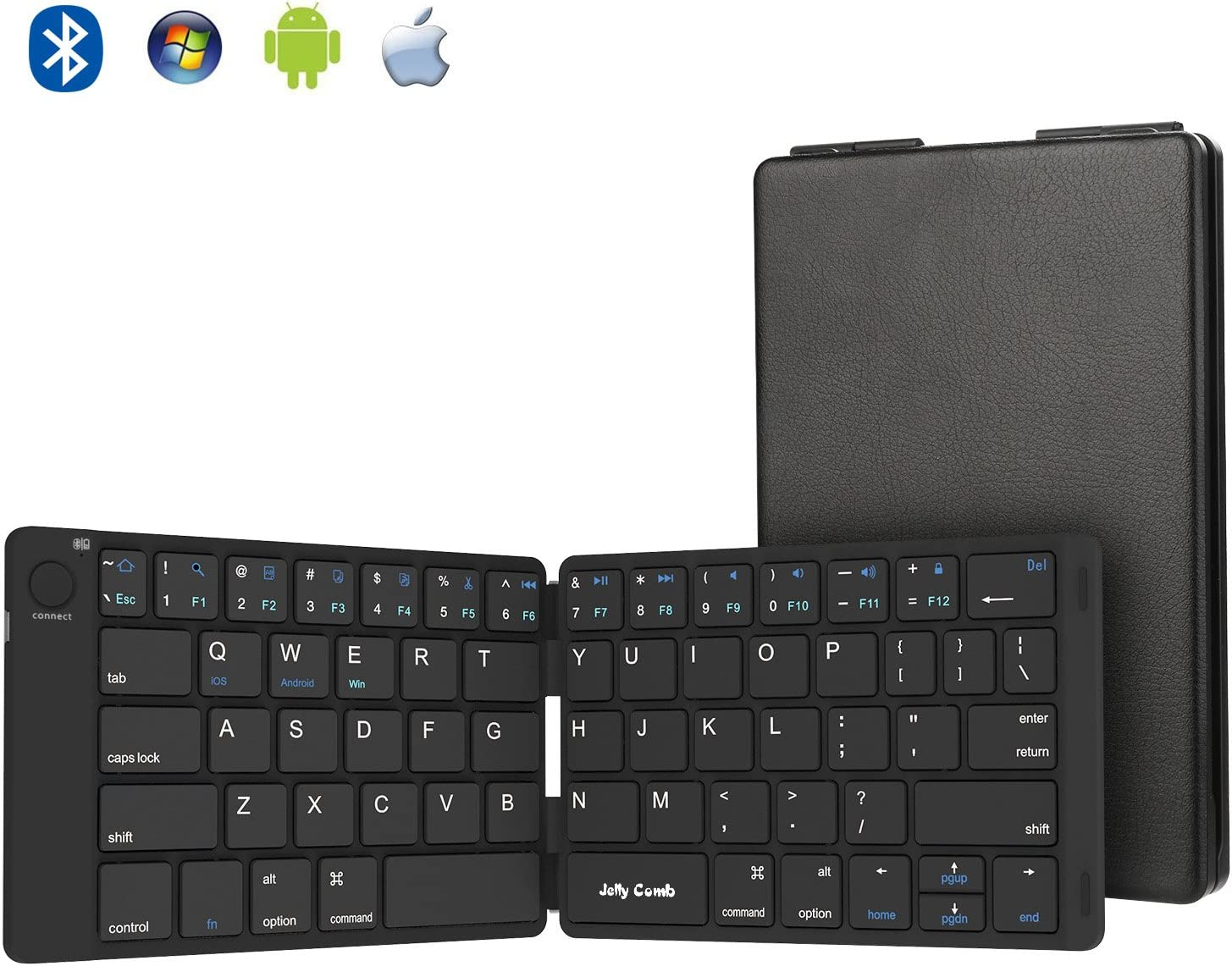 Foldable Bluetooth Keyboard, Jelly Comb Ultra Slim Foldable BT Keyboard B047 Rechargeable Pocket Sized Keyboard for All iOS Android Windows Laptop Tablet Smartphone and More (Black)