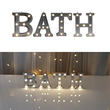 DELICORE Decorative Illuminated Bath Marquee Word Sign (Silver Color 4.21  Tall) - Lighted Letter Words and Signs for Bathroom/Home Wall/Door Decoration - Bath