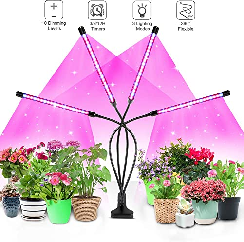 LED Grow Light for Indoor Plants, 4WDKING 40W Full Spectrum Plant Growing Lamps with Auto ON Off Timer 10 Level Brightness 3 Switch Red Blue Modes