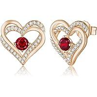 CDE Love Heart Women Earrings 925 Sterling Silver Rose Gold Plated January Birthstone Stud Earrings for Women with 5A…
