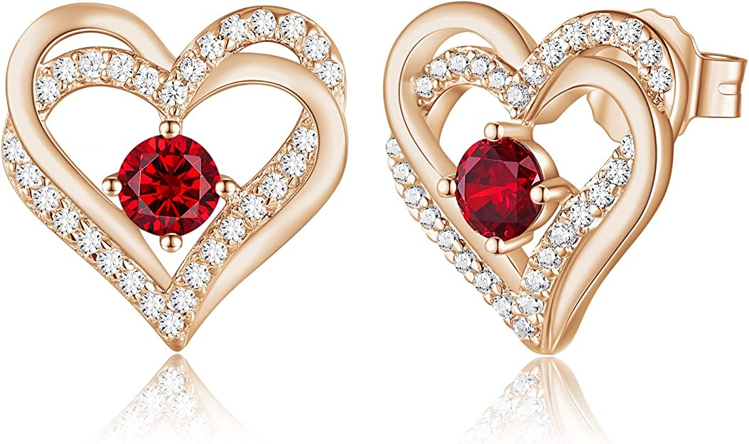 NEW 18K GOLD Plated Lovely Fashion Heart Stud Earrings Ideal Gift