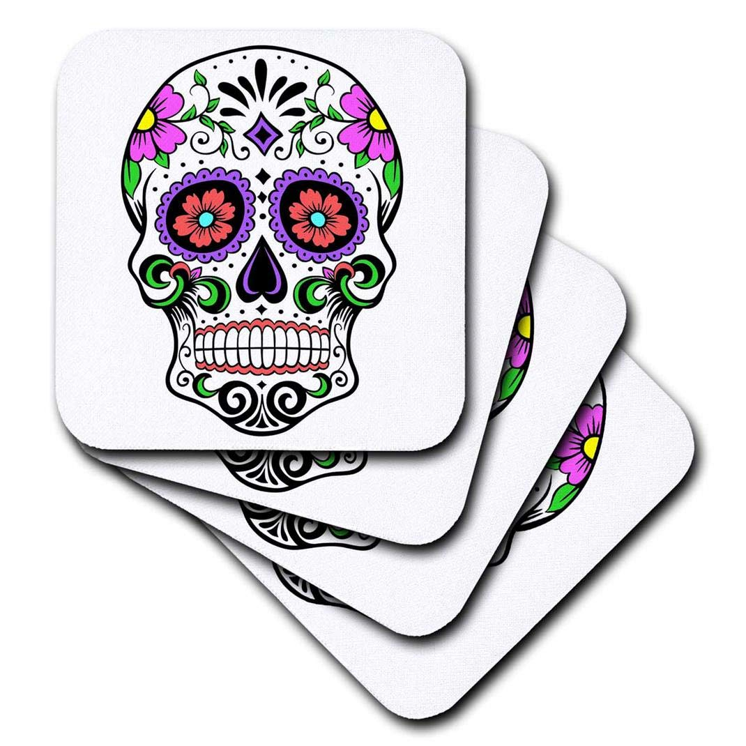 Pink CST/_186236/_3 3dRose Sugar Skull Ceramic Tile Coasters Set of 4