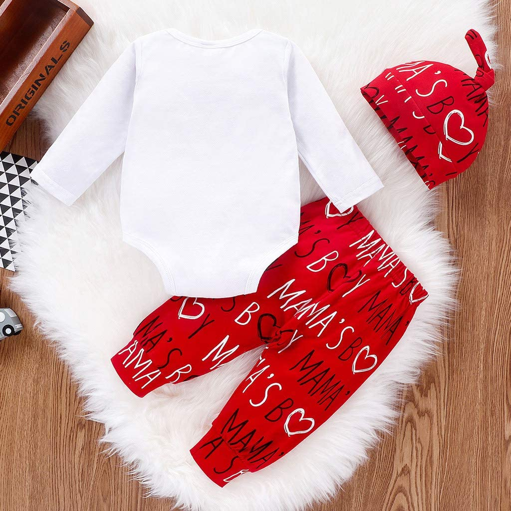 Infant Baby Boys Letter Print Romper Bodysuit Cotton Pants Sleeping Hat 1st Valentines Day Newborn Pajamas Set