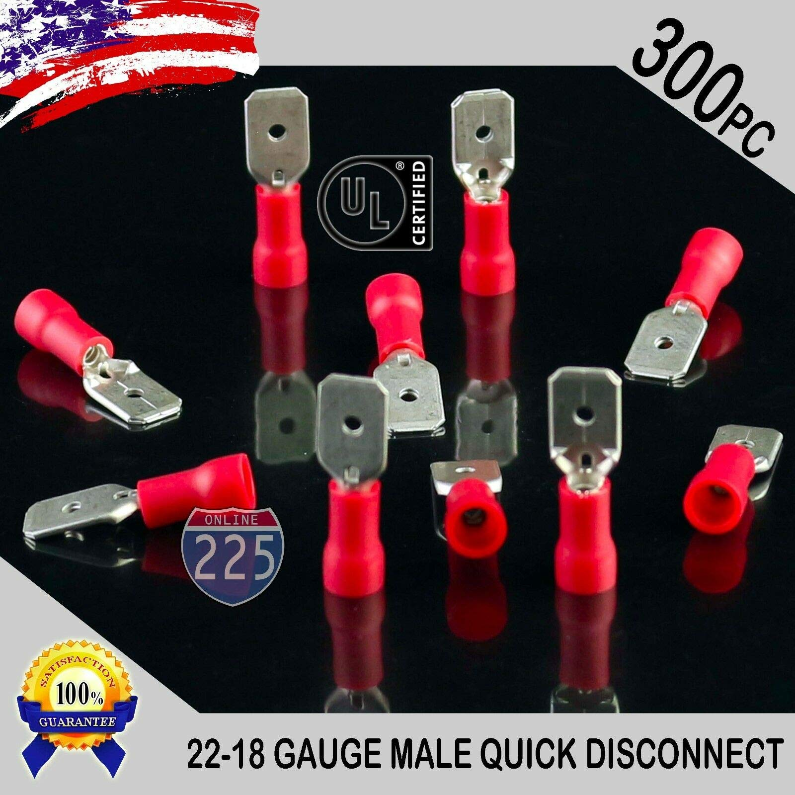 JumpingLight 300 Pack 22-18 Gauge Male Quick Disconnect Red Vinyl Crimp Terminals .250'' US UL Mechanical and Electrical Equipment for Buildings