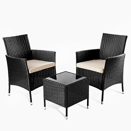 Mc Haus Set de Muebles de jardín terraza o balcón Tivoli Mesa+2 ...