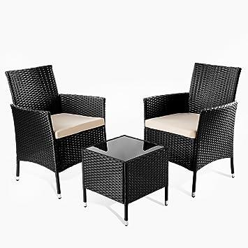 Mc Haus Tivoli Set de Muebles Jardín O Terraza, Negro