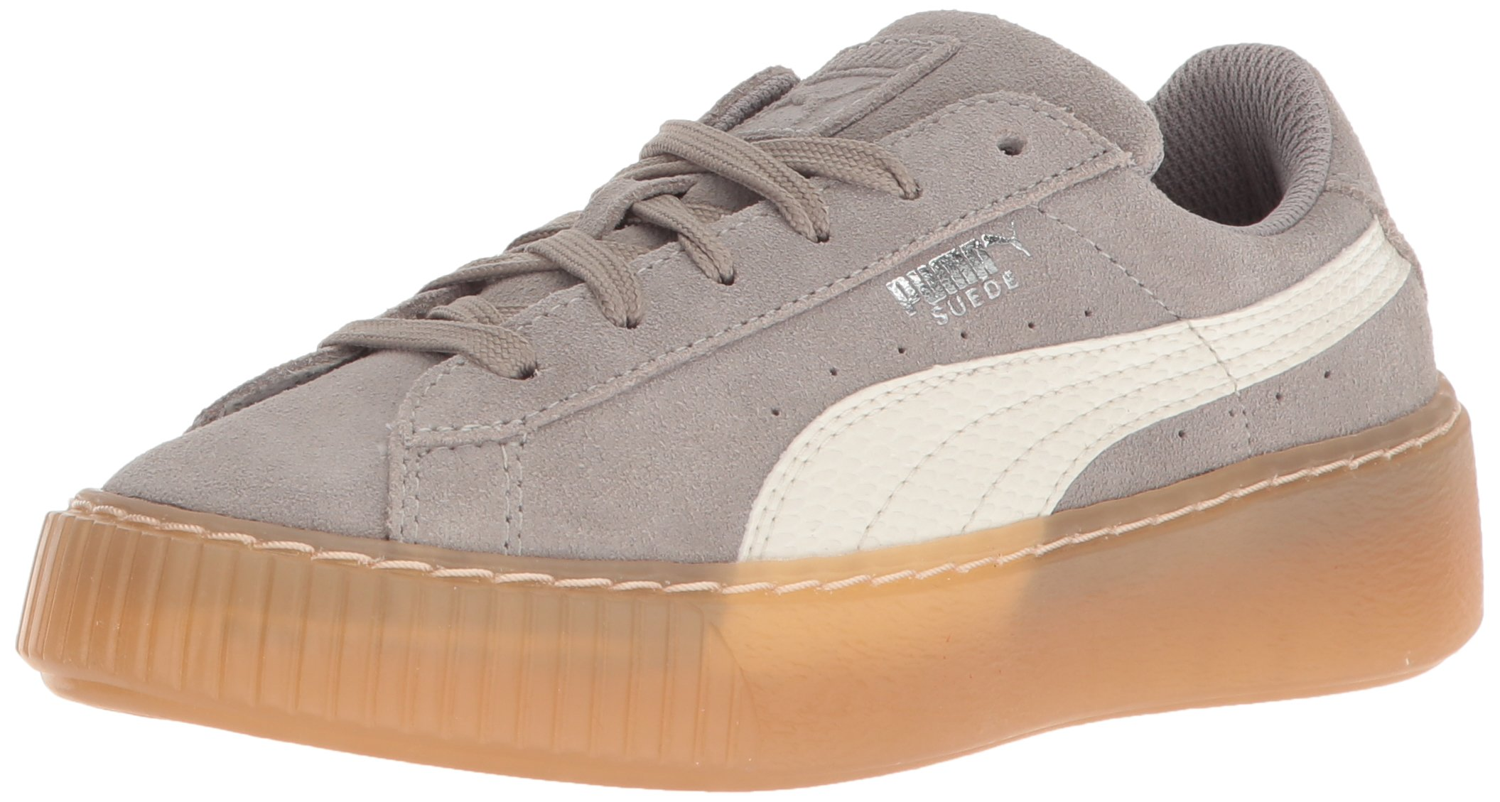 PUMA Unisex Suede Platform SNK Kids Sneaker, Rock Ridge-Whisper White, 12 M US Little
