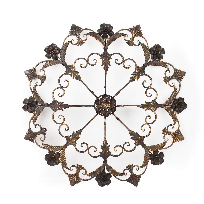 Asense Home Decorative Scrolled Wall Decor Round Fleur-de-Lis Starburst Design Metal Bronze