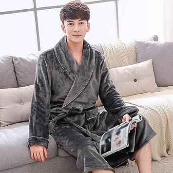 Albornoces Otoño Invierno Señora Pijamas Parejas Pijamas Hombres Engrosamiento Larga Sección Inicio Ropa GAODUZI (Color