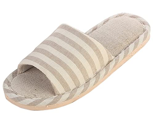 Unisex Couples Indoor Stripes Skid-proof Flax House Slipper