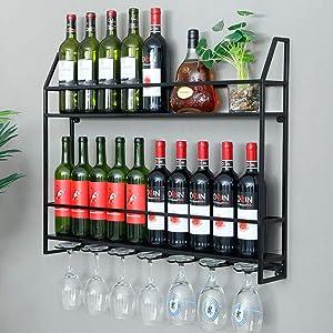 HANS CAO Industrial Wine Rack 20 Bottles Wall Mount Wine Cabinet with 7 Glasses Hook Hanging Metal Wine Rack Goblet Shelf for Home Bar Restaurant 31.5''x4.7''x24.5''