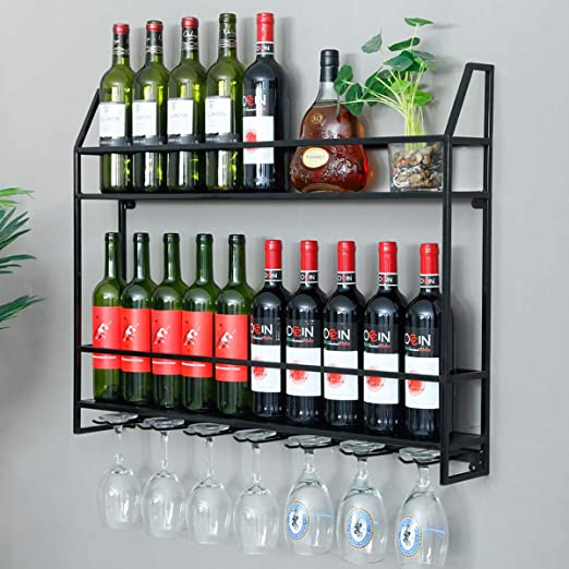 Metal Wine Rack Storage Home Bottle Holder Bar Kitchen Tall Wall Mounted Hanging