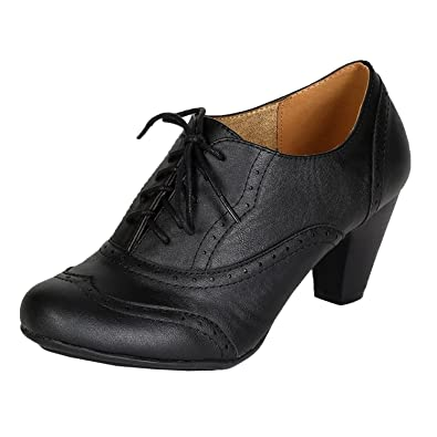 Amazon.com | Refresh Women Leatherette Lace Up Oxford Chunky Heel ...