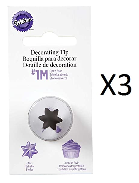 Wilton #2110 (1M) Open Star Decorating Tip for large Coupler - Pack of 3  Tips