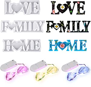 3 Pieces Home Love Family Resin Moulds Silicone Word Sign Moulds Epoxy Word Casting Moulds with 3 Pieces Fairy Light for DIY Table Home Office Valentine's Day Decoration Making Supplies