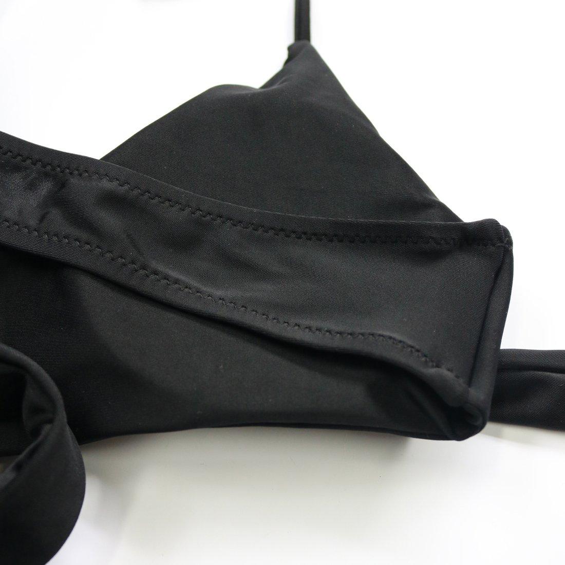 MOOSKINI Womens Padded Push-up Bikini Set Bathing Suits Two Pieces Swimsuit Black