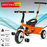 BAYBEE Spectra Plug and Play Kids Tricycle with Parental Adjust Push Handle (1 to 5 Years) - Orange