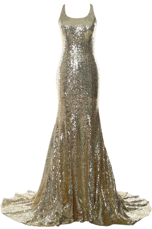 MACloth Women Mermaid Long Prom Dress Open Back Wedding Formal Evening Gown (26w, Light Gold)