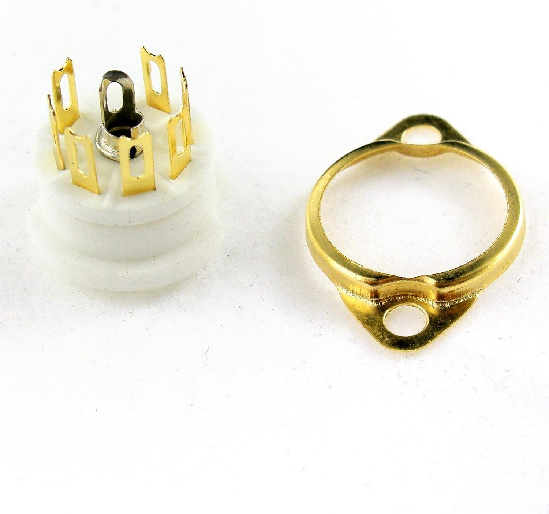 Cary 4pcs Mini 7pin Gold Ceramic Vacuum Tube Sockets Valve Base B7g 6au6 Ef95 6c4 6x4