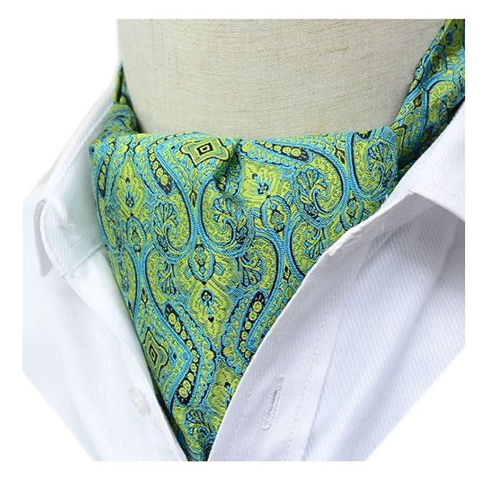2ebe3466ec27 Secdtie Men's Green Yellow Floral 100% Silk Cravat Ties Jacquard Woven Ascot  18