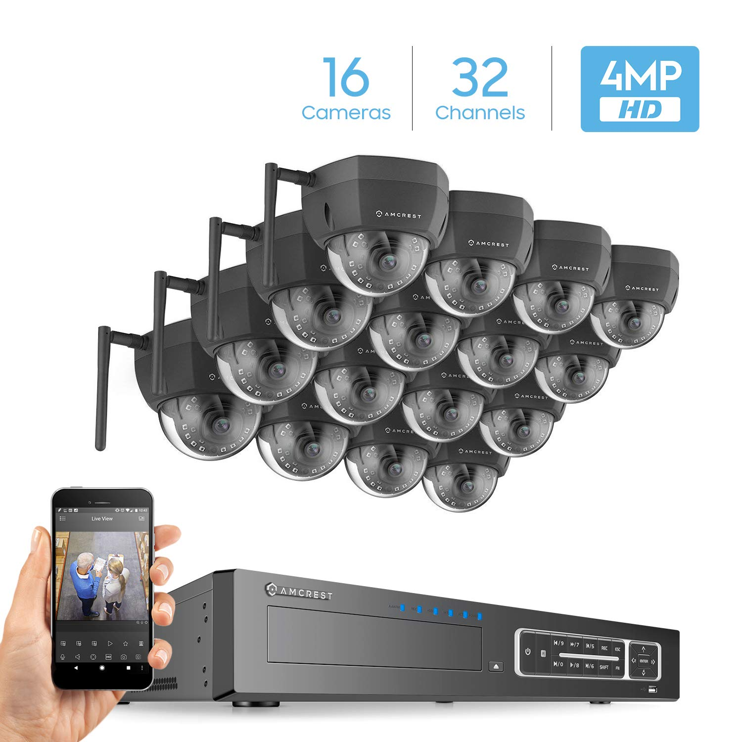 16 NV4432-HS-IP4M-1026W16 White Amcrest 32CH 4MP Security Camera System w// 4K NVR, x 4-Megapixel IP67 Weatherproof Bullet WiFi IP Cameras Hard Drive Not Included 3.6mm Angle Lens