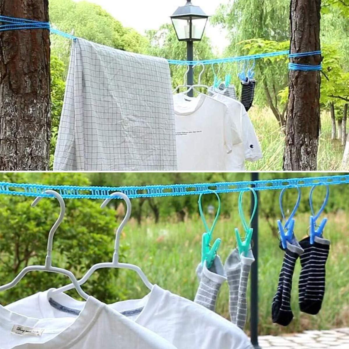 Tendedero resistente al viento azul 2 piezas de pl/ástico antideslizante cuerda de secado