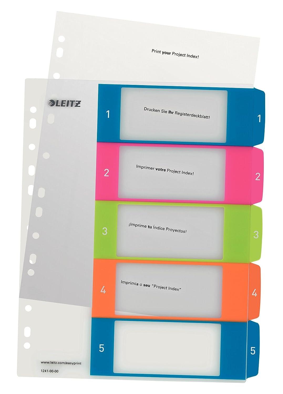Leitz Rubrica, Formato A4 Maxi, Pagina indice stampabile al PC, Polipropilene, Bianco/Multicolore, WOW, 12430000