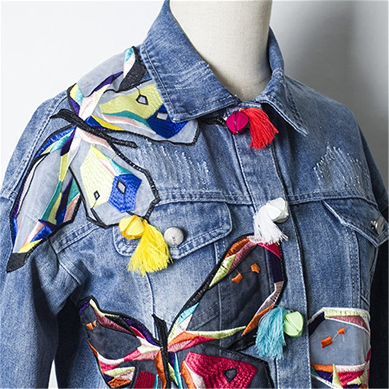 Fall Winter High Waist Women Ripped Short Denim Jackets Ladies Tassel Patches Butterfly Embroidery Jean Coat C08029 at Amazon Womens Coats Shop