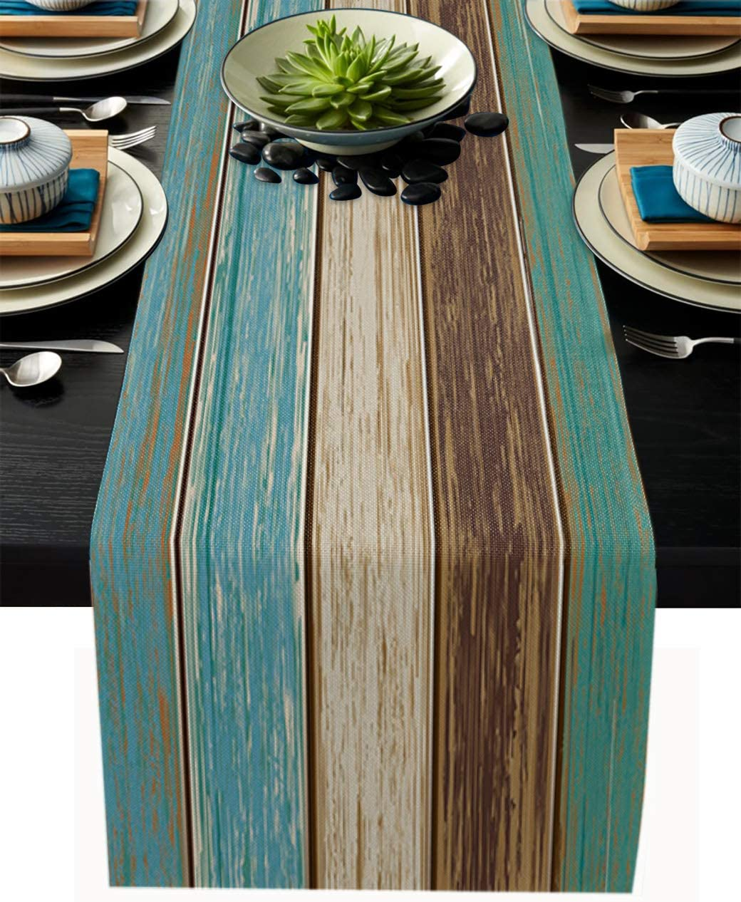 Homeinn Farmhouse Table Runner Dresser Scarves for Kitchen Dining Party Decor, Retro Rustic Barn Wood Brown and Blue Green Burlap Linen Tabletop Cover for Indoor Outdoor Tables Use - 13