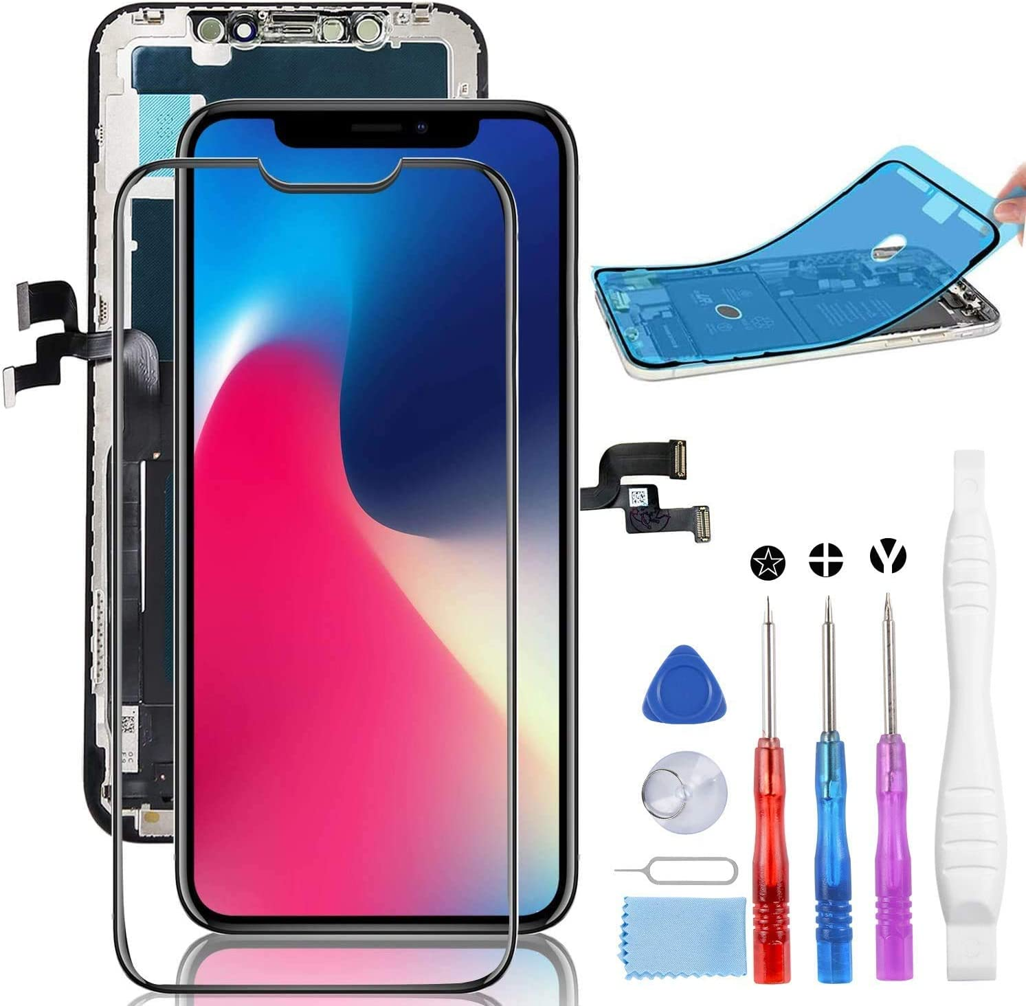 YPLANG Screen Replacement for iPhone X Screen Replacement OLED [NOT LCD] Display 3D Touch Digitizer Frame Assembly Full Repair Kit