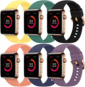 Abincee 6PCS Bands Compatible with Apple Watch 38mm 40mm 42mm 44mm with Rose Gold Buckle,replacement band for iWatch Series 6/5/4/3/2/1 (Black/Midnight Blue/Purple/Yellow/Pine Green/Orange, 38mm/40mm)