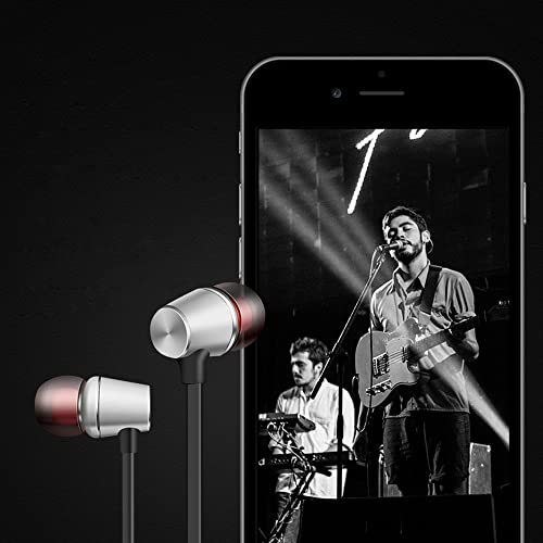 Choosebuy Wired in-Ear Sport Stereo Earphone with mic and Magnetic, Sweatproof, Noise Isolating, Universal 3.5mm Audio Jack, Portable Sport in-Ear Earbuds Headphone Headset 2pcs Ear Buds Silver