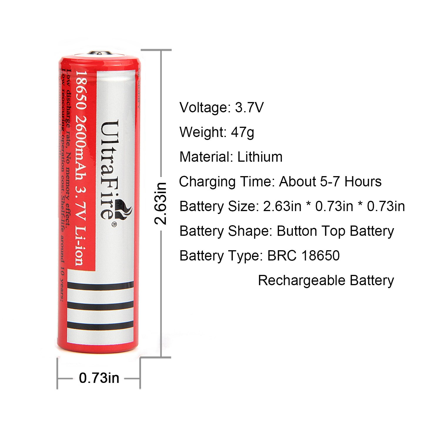 Ultrafire 18650 Battery 37v Rechargeable Protection Circuit For Led Torch Sanyo Cell 2600mah Li Ion Button Top2 Pack Health Personal Care