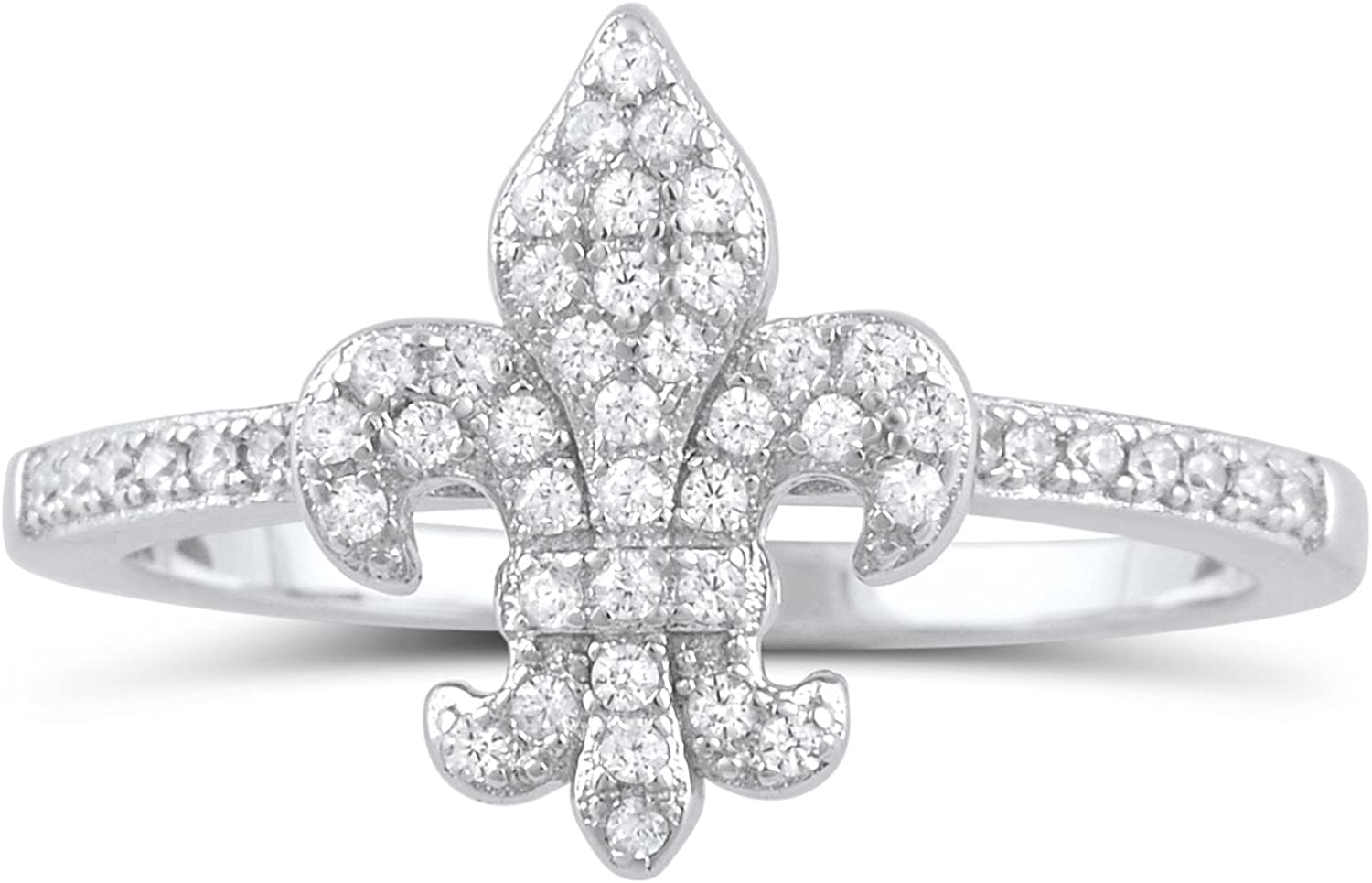 Women/'s Fashion Star White CZ Unique Ring .925 Sterling Silver Band Sizes 4-9