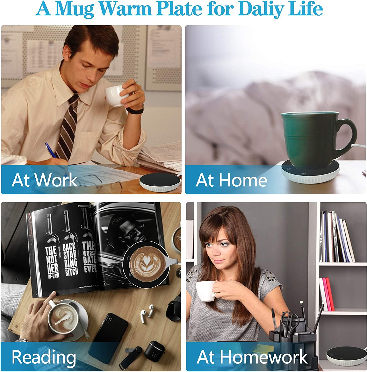 Coffee warmer with 2 temperature settings milkWait for insulation with an automatically closed warmer office can be used for home coffee suitable for all kinds of thermos cup black and white
