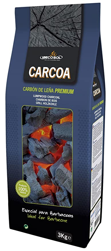 Carcoa 0124 - Carbón Vegetal, 3 kg, Color Negro