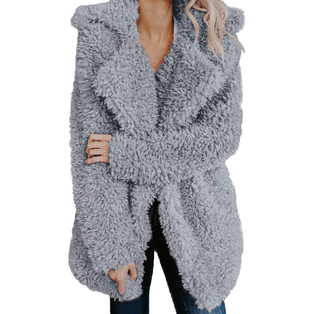 Women's Fashion Faux Fur Lapel Thick Wool Trench Coat Lapel Winter Jacket KIKOY