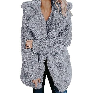 44f1d380558 Cywulin Women's Thicken Open Front Cardigan Sweaters Blazer Jackets Fuzzy  Faux Fur Winter Coat Warm Soft Furry Parka Outwear
