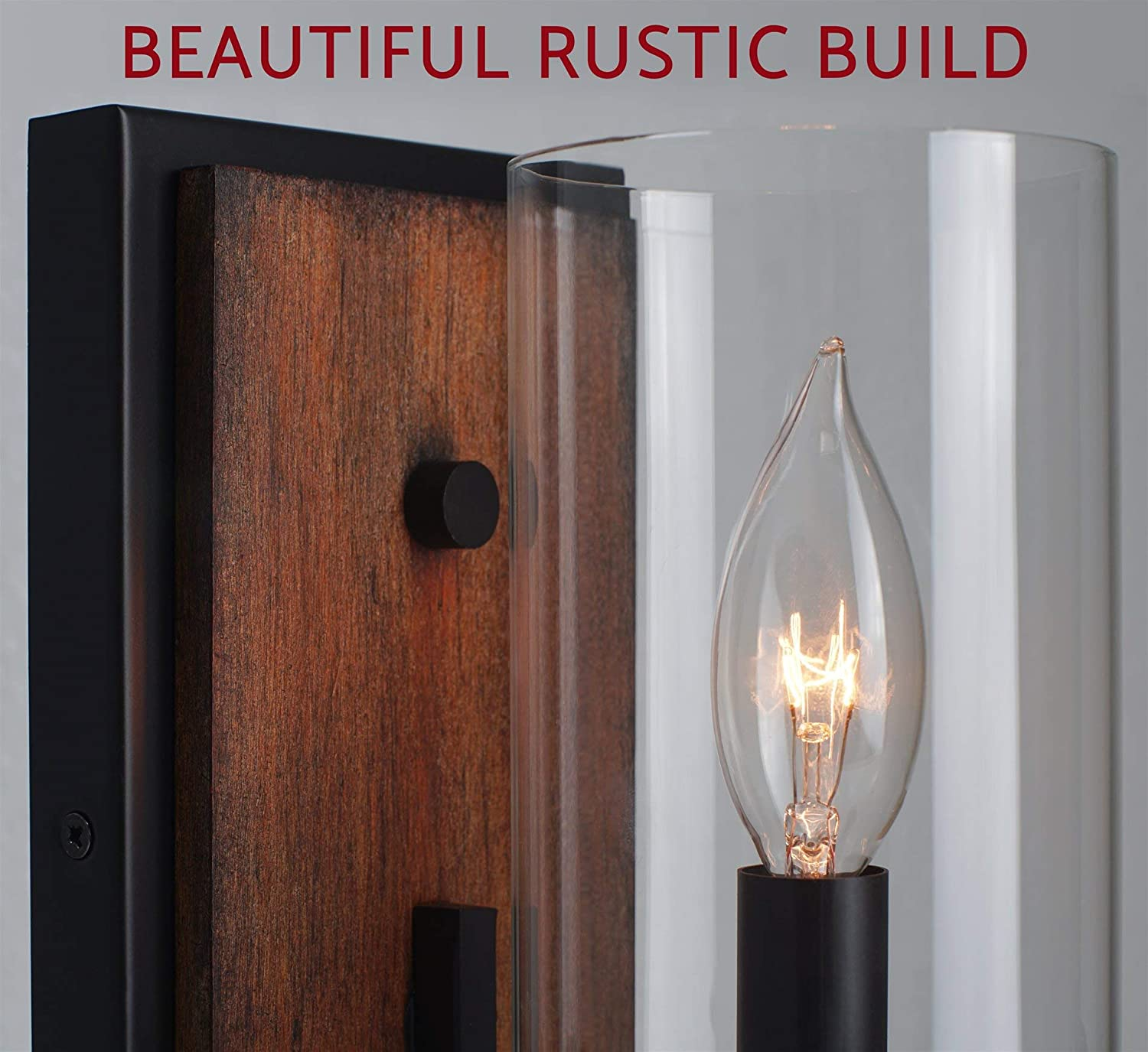 """Oil ... Kira Home Aspen 9/"""" Transitional Wall Sconce Clear Glass Cylinder Shade"""