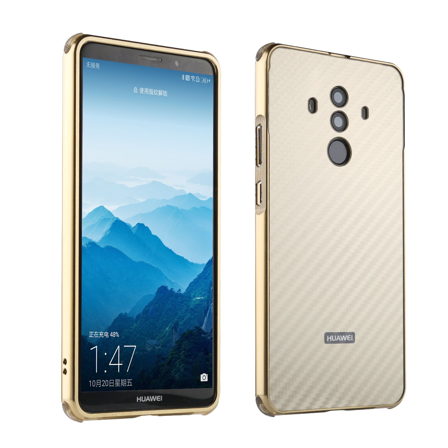 Mate 10 Pro Case,DAMONDY Luxury Carbon Fiber Design Ultra thin Imitation Metal Brushed Premium Aluminum Shockproof Protective Bumper Hard Back Case Cover for Huawei Mate 10 Pro-Gold
