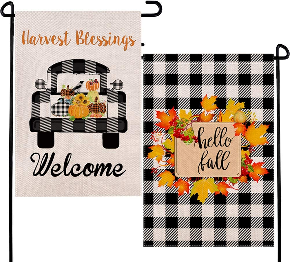 DUDOU Hello Fall Pumpkin Farmhouse Truck Garden Burlap Flag Autumn Maple Leaves Wreath Harvest Blessings Welcome 2 Packs Outdoor Buffalo Check Plaid Decoration 12.5 x 18 Inches