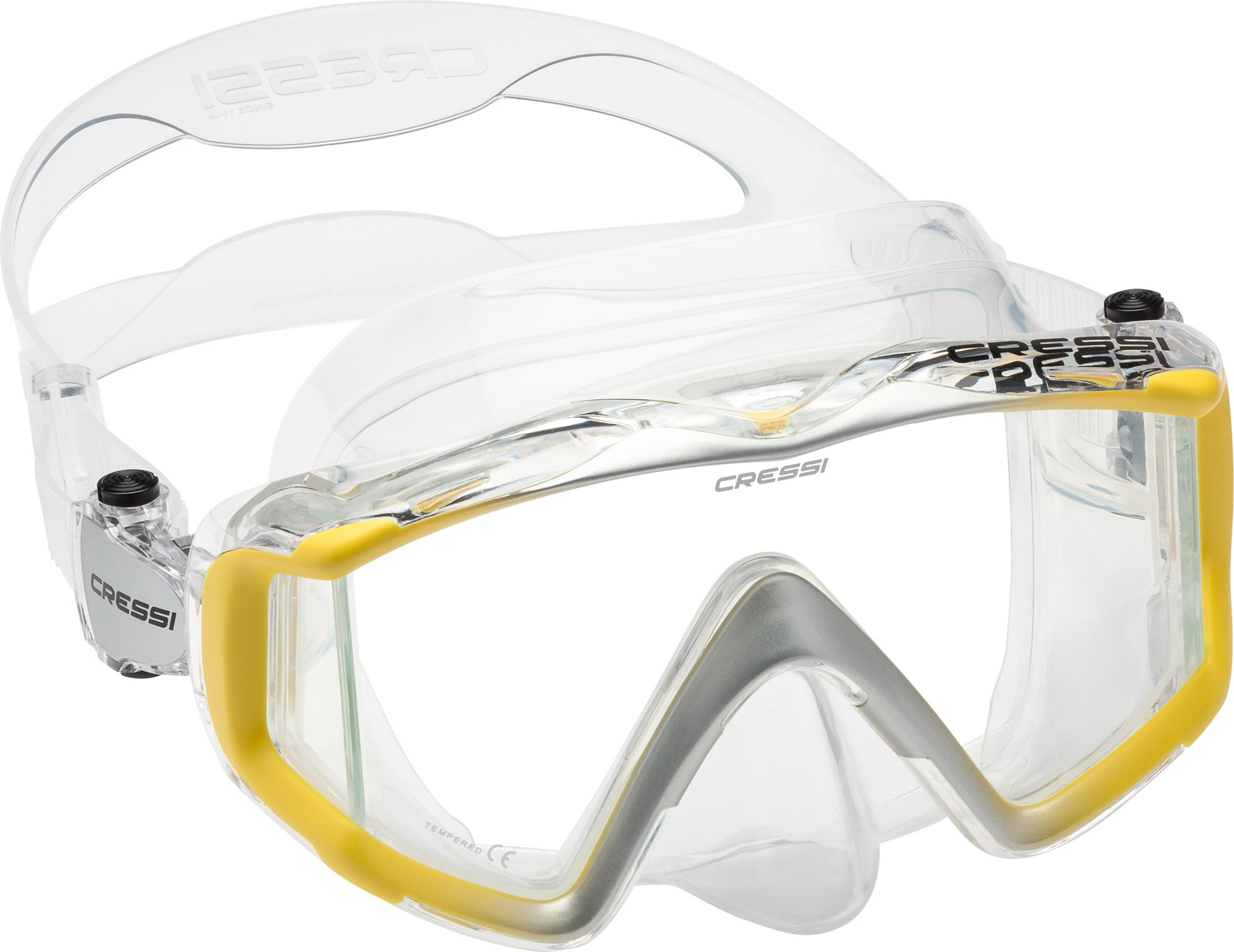 Cressi Liberty Triside Spe Diving Mask, Clear/Yellow/Silver