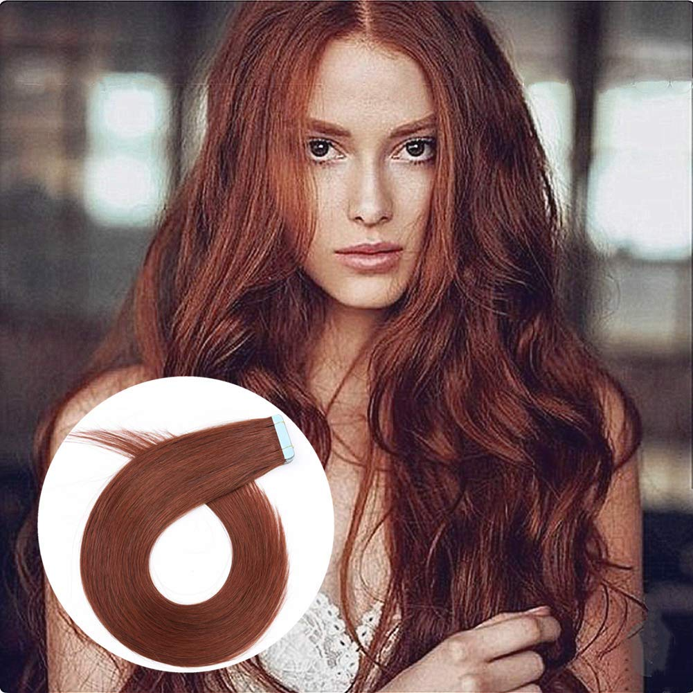 Showcoco True Copper Vibrant Red Brown Dark Auburn 33 Tape In Hair Extensions Real Human Hair 16 Inches Remy Tape In Skin Weft Hair Extensions 30