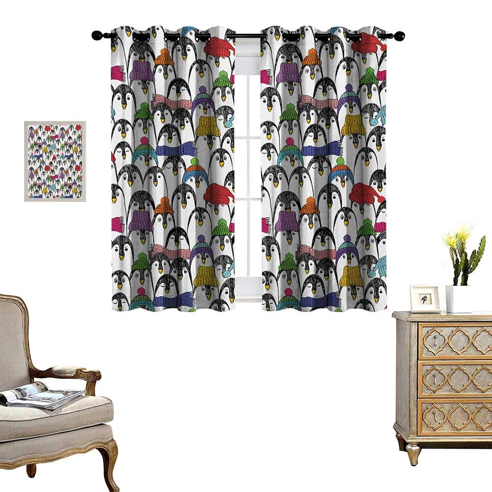 Sea Animals Waterproof Window Curtain Pattern with Cute Penguins in Colorful Hats and Scarfs Cold Winter Fun Art Blackout Draperies for Bedroom W72 x L45 Multicolor