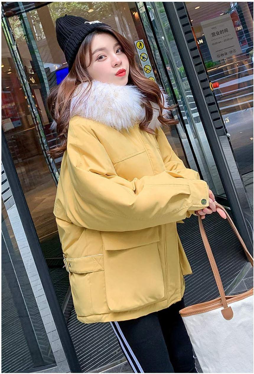 EIJFKNC Blousons Vestes d'hiver Femme et Manteaux LongsVeste en Laine à col épais Veste d'hiver Nouvelle Veste Ample Grande Taille Jaune