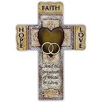 Abbey Gift Faith Hope Love Marriage Cross, 7.25 x 10.5