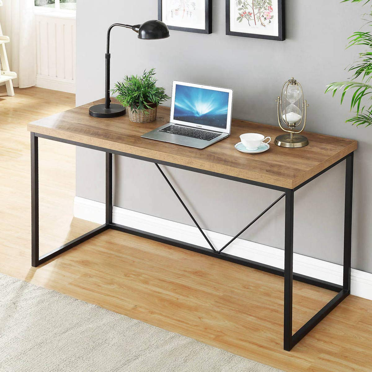 FOLUBAN Rustic Industrial Computer Desk,Wood and Metal Writing Desk, Vintage PC Table for Home Office, Oak 55 inch by Foluban